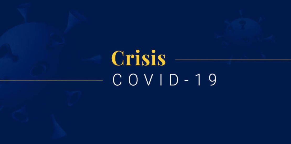 fondo con cartel de Covid-19 la Crisis desconocida.