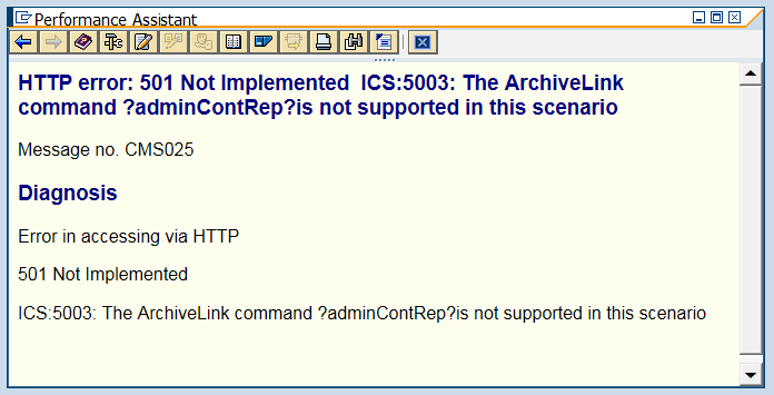 SAP Content Server: HTTP error: 400 Bad Request, 400 Error, 501 Not