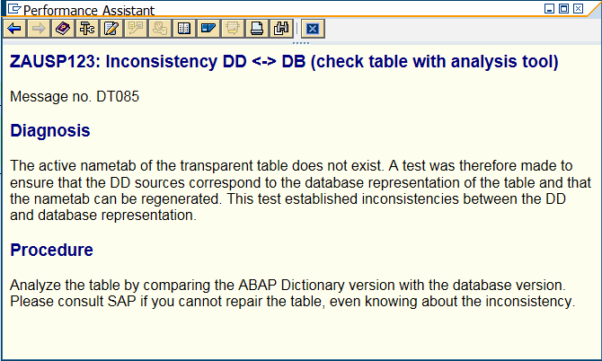 TABLE-NAME: Inconsistency DD DB (check table with analysis tool)