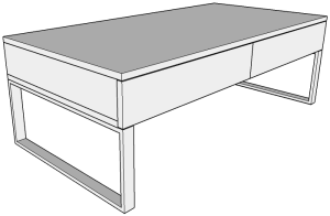 Front view of our walnut coffee table design in Sketchup.