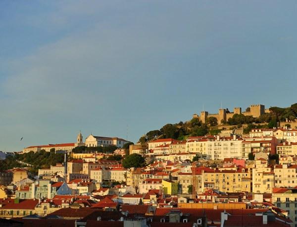 Golden hour view of Lisbon