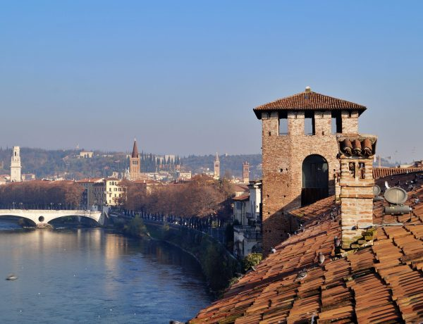 View of River Adige from Castelvecchio Castello Scaligero.