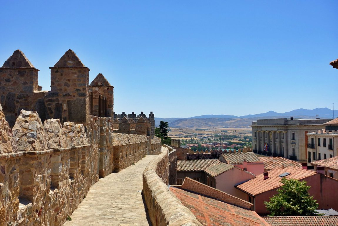 City walls and view of Avila