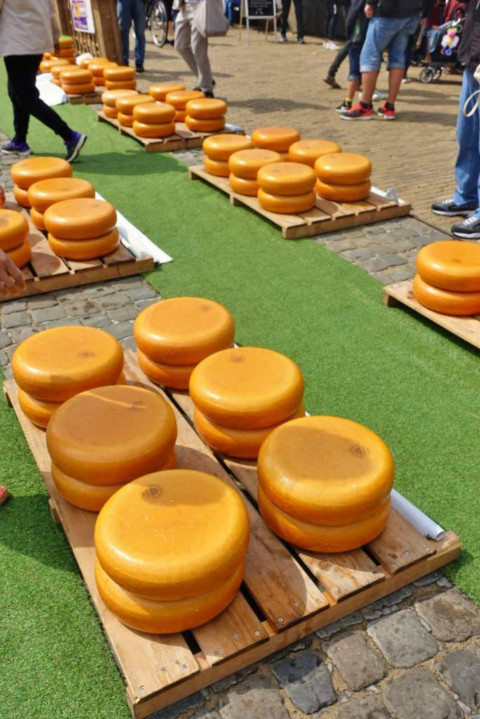 Cheese wheels at Gouda Cheese market