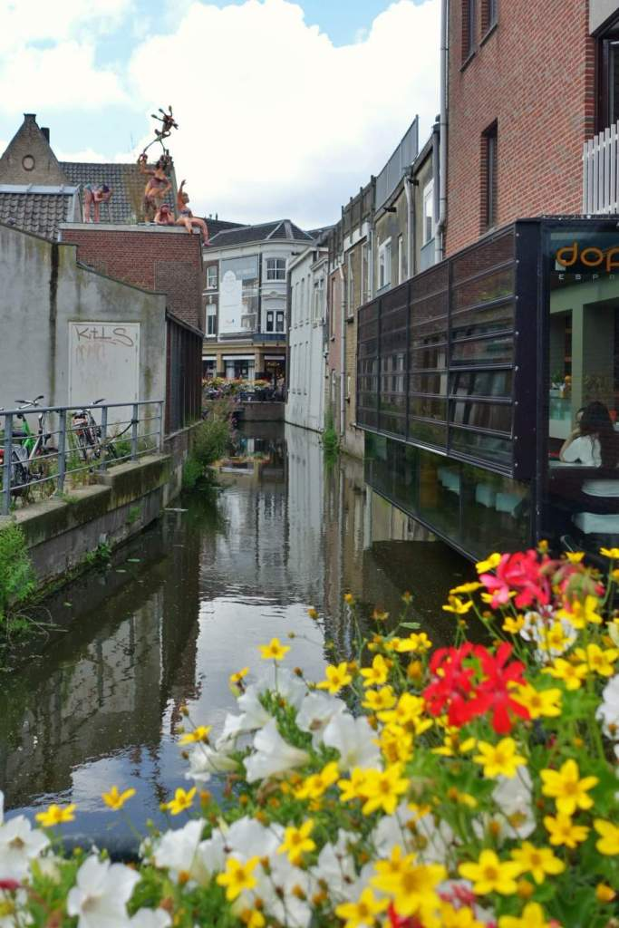 Dutch canal with flowers