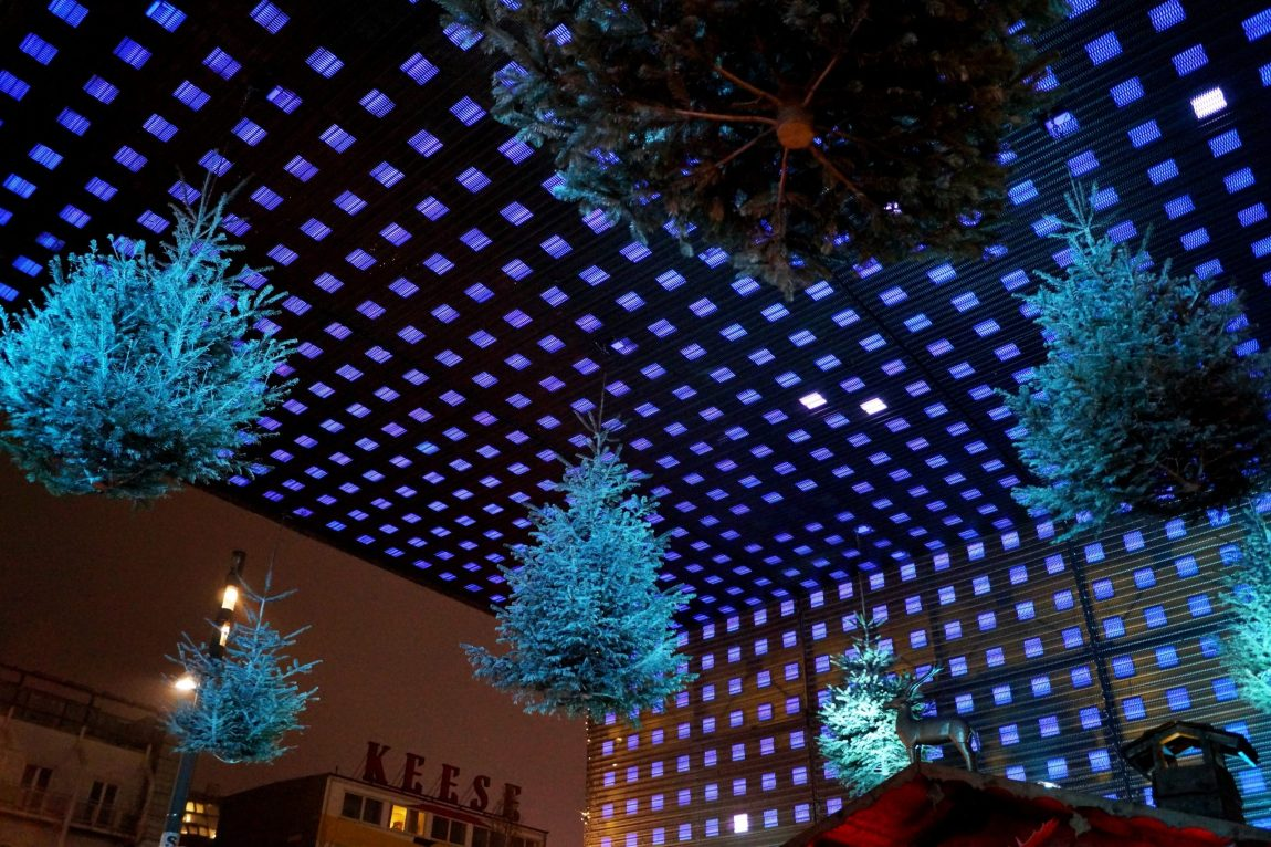 Hanging Christmas trees at Reeperbahn christmas market