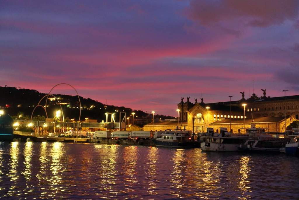 Sunset in Barcelona marina