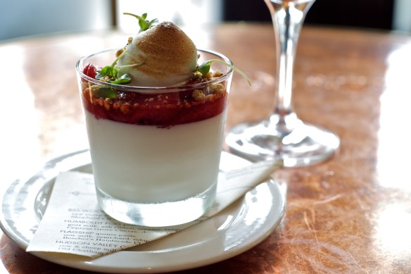Roasted Strawberry Panna Cotta with Baby Basil Meringue