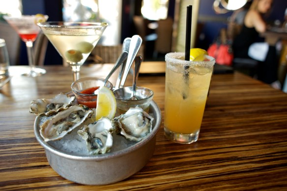 Washington and California Oysters with Dirty Martini and Sidecar cocktails