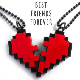 friends heart necklace in pixel heart shape with text best friends forever