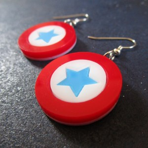 side view of Captain America Mini Shield Earrings