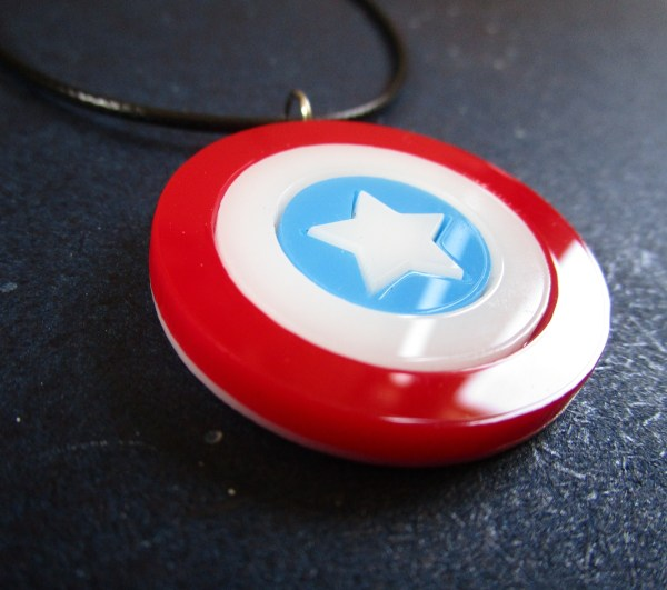 up close side view of pendant for Captain America Shield Necklace