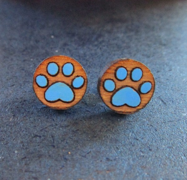 blue Paw Print Earrings made of laser etched wood stud earrings