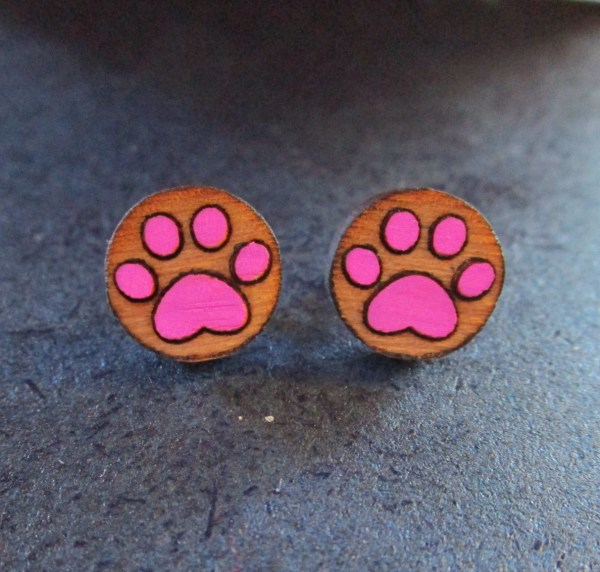 pink Paw Print Earrings made of laser etched wood stud earrings