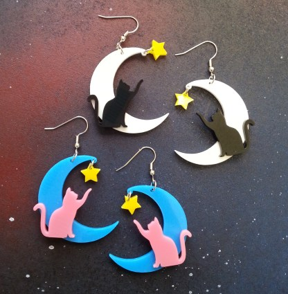 Cat on moon with star pendant statement dangle earrings