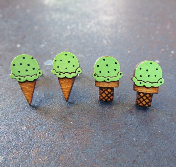 row of Mint Chocolate Chip Ice Cream Earrings 4 total