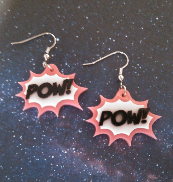 pink POW! work action bubble comic book style earring set