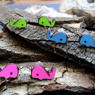 cute narwhal stud earrings on wood bark, 3 sets of pink blue green narwhale earrings