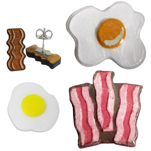 Cute little wood bacon stud earrings food brunch breakfast egg bath bomb and pin gift set
