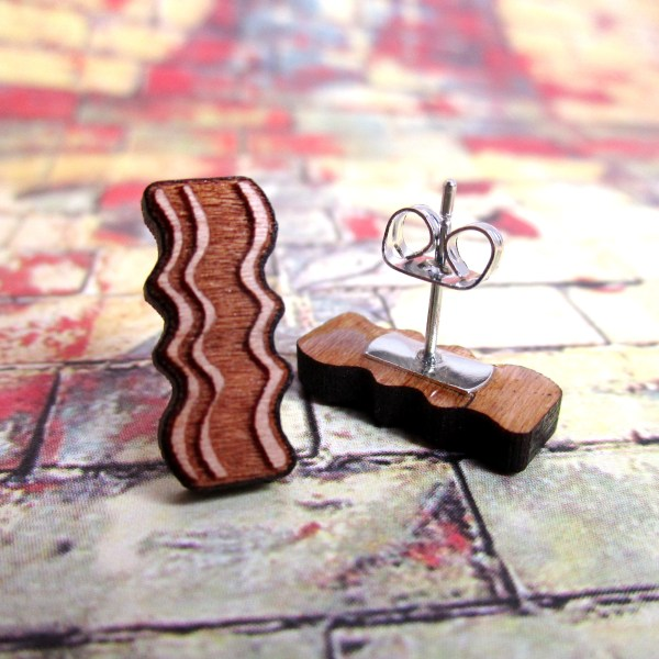 Cute little wood bacon stud earrings food brunch breakfast jewelry