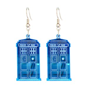 2 floating dr who tardis police box pendant earrings with white background