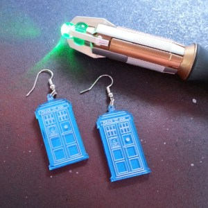 Doctor Who Dr Who Tardis Police Box earrings with sonic screwdriver