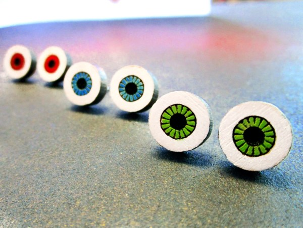 evil eye eyeball stud earrings in a row