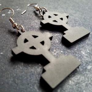 black headstone gravestone earrings shaped with circle cross