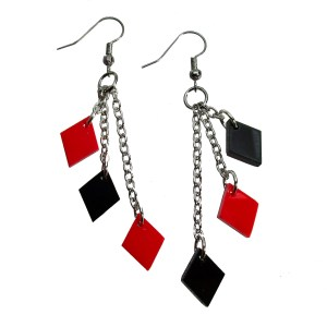 Harley Quin Mismatch Red and Black Diamond Dangle Chain Cosplay Costume Earrings