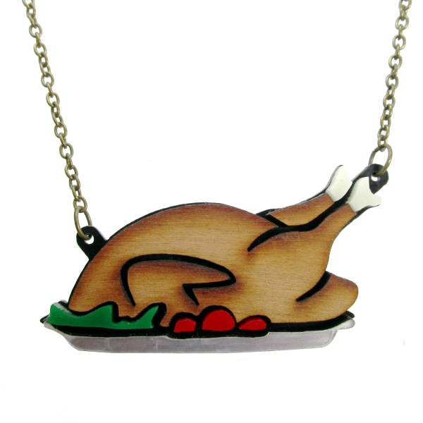 Hilarious Thanksgiving Turkey Platter pendant statement necklace for holidays and chefs who like to cook turkey dinner
