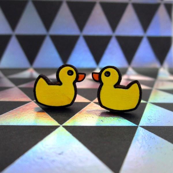 handmade yellow rubber ducky bath toy shape earrings