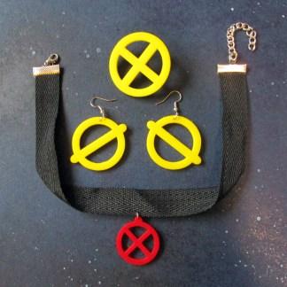 xmen jubilee cosplay jewelry set earrings necklace brooch