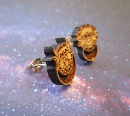 side upclose view of Wooden Labyrinth Door Knocker Stud Earrings
