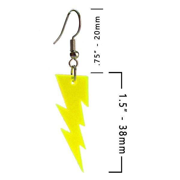 Lightning Bolt Neon Yellow Large Statement Dangle Earrings Flash Thunder