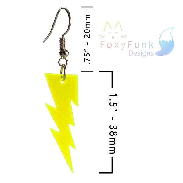 floating yellow thunder bolt lightning dangle earring with measurements and foxyfunk designs logo
