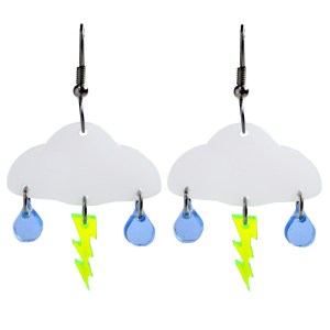 floating lightning cloud and rain statement earrings with white background