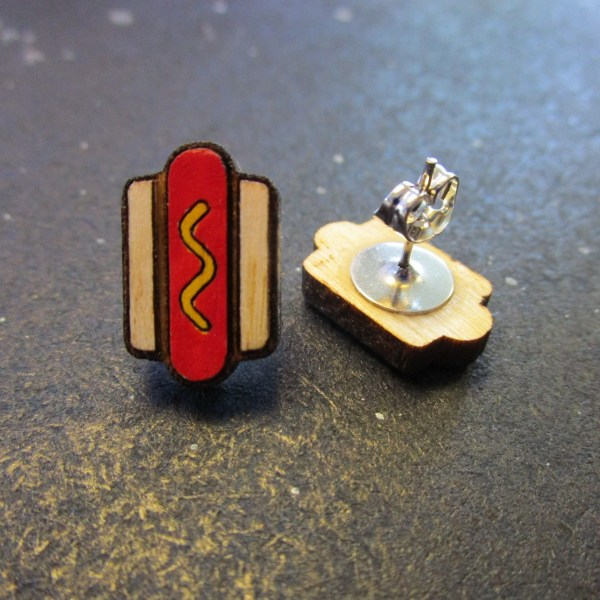 Mini Hot Dog Stud Earrings one faving front to show detail and one on side to show stud post and clutch back