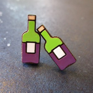 2 Miniature Wine Bottle Stud Earrings facing forward