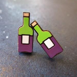 2 Miniature Wine Bottle Stud Earrings facing forward
