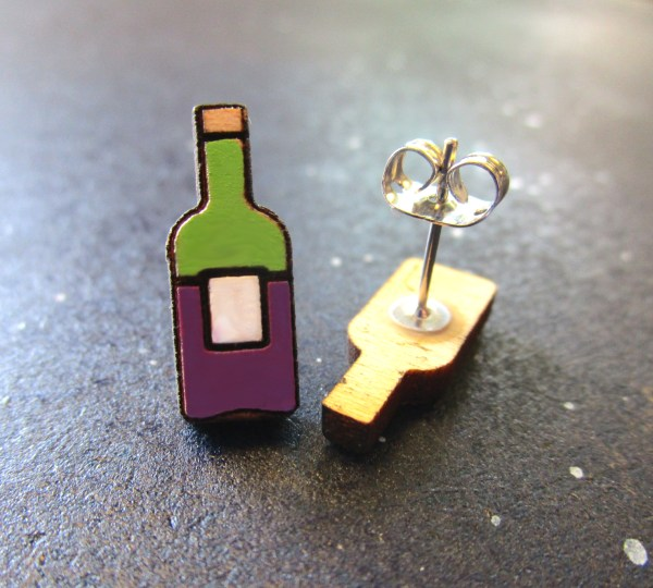 Miniature Wine Bottle Stud Earrings one facing front ne on side to show stud post and clutch back
