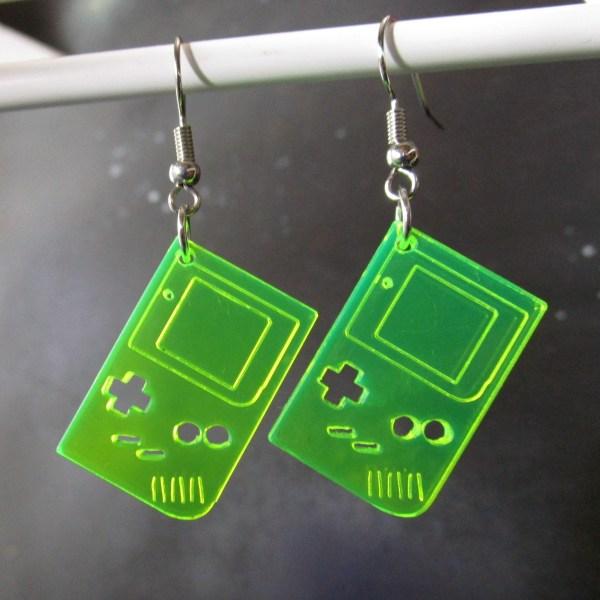 neon green yellow retro 1st gen gameboy dangle earrings