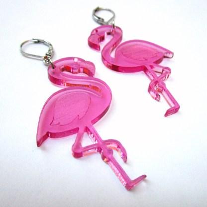 big pink flamingo luau hawaii beach party earrings