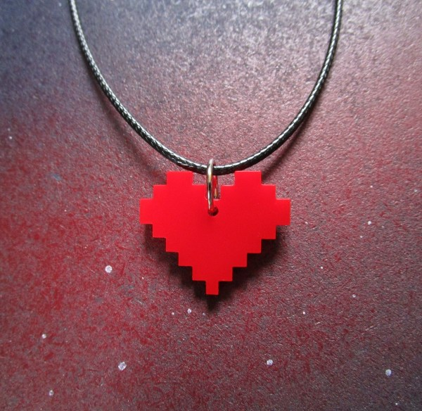 centered red pixel pendant necklace on space background