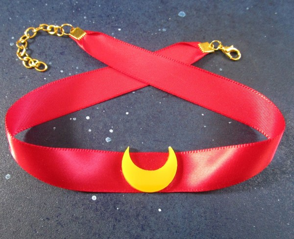 sailor moon choker necklace red and moon