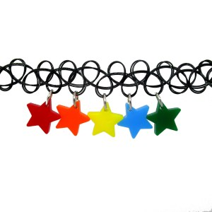 Rainbow Star Charm Choker Necklace s stretchy black choker necklace with ROYGB rainbow star charms