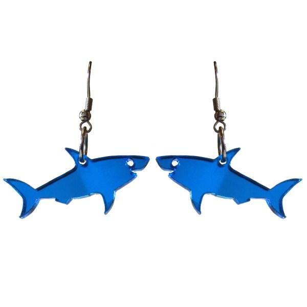 Shiny Mirrored Blue Shark Dangle Earrings Statement shark drop earrings shark week