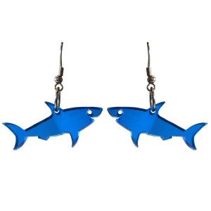 Shiny Mirrored Blue Shark Dangle Earrings Statement shark drop earrings shark week