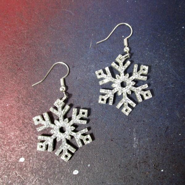 silver glitter snowflake earrings