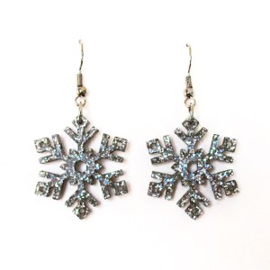 silver glitter snowflake earrings