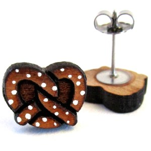 hand painted miniature pretzel stud earrings